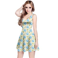 Yellow Tree Elephants Cute Pattern Sleeveless Dress