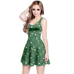 Green Hand Drawn Pattern With Celtic Elements Sleeveless Dress