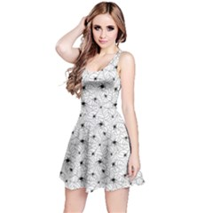 Gray Spiders On Webs Pattern Repeats Sleeveless Dress