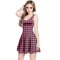 Pink Catstooth Pattern In Black And Pink Sleeveless Dress