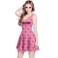 Pink Pattern Of Sketched Strawberry Sleeveless Dress