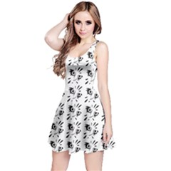 Black Drawing Of The Owl On White Sleeveless Dress