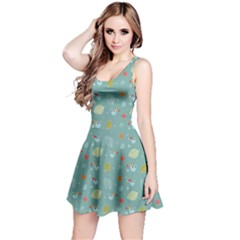 Blue Xmas Pattern With Owls And Snowflakes Sleeveless Dress