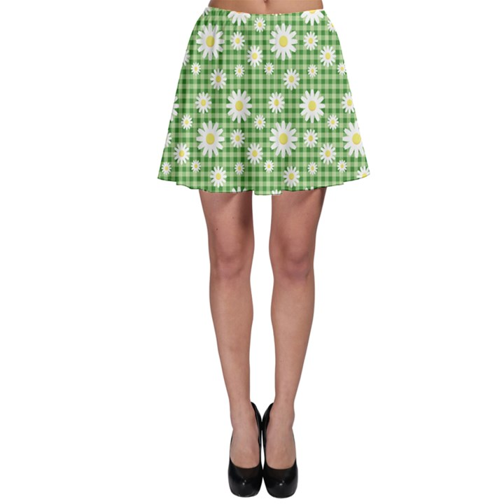 Green Chamomiles On Green Checkered Pattern Skater Skirt