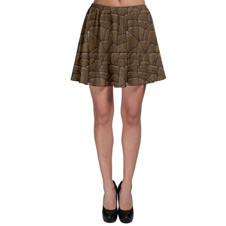 Brown Of Brown Stone Pattern Skater Skirt
