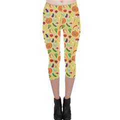 Colorful Vegetables Pattern Capri Leggings