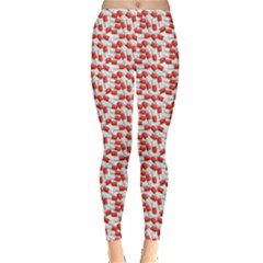 Red Medical Pills Over White Pattern Leggings