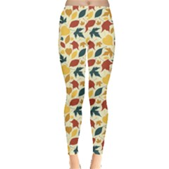 Colorful Pattern With Falling Leaves Leggings