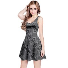 Gray Beautiful Peacock Feathers Pattern Sleeveless Dress