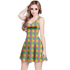 Green Puzzles Color Pattern Sleeveless Skater Dress