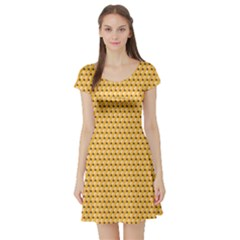 Yellow Pattern Of Simple And Colored Pencils Short Sleeve Skater Dress