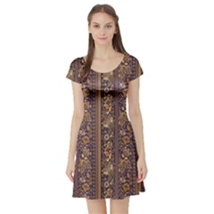 Brown Floral Pattern Ornamental Flowers Short Sleeve Skater Dress