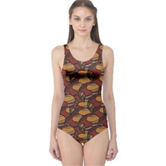 Brown African Ethnic Colorful Pattern Women s One Piece Swimsuit