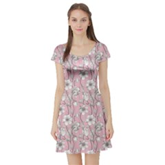 Pink Vintage Floral Pattern With Gray Anemones On A Pink Short Sleeve Skater Dress