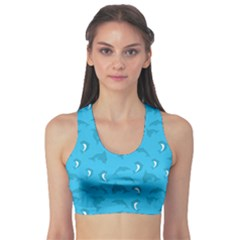 Blue Pattern Wrapping Paper And Filled With Dolphin Women s Sport Bra