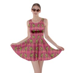 Purple Pattern With Macaw Parrots Hand Drawn Skater Dress