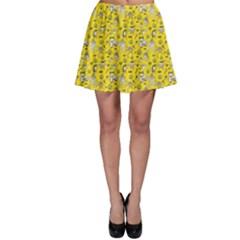 Yellow Cute Halloween Doodle Pattern Skater Dress