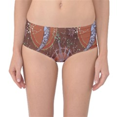 Brown Composition With Sun And Moon Mid Waist Bikini Bottom