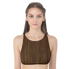 Brown Abstract Flat Wooden Texture Wooden Pattern Tank Bikini Top