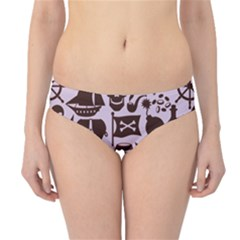 Purple Pattern On Pirate Theme With Objects And Elements Hipster Bikini Bottom