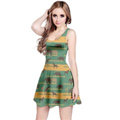 Green Pattern with African Animals Silhouettes Sleeveless Skater Dress