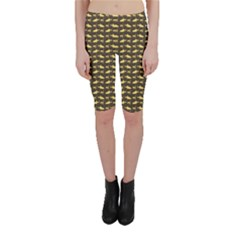 Brown Image of Sharks and Underwater Masks Cropped Leggings