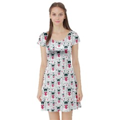 Colorful Cats With Hearts In Hands Pattern Short Sleeve Skater Dress