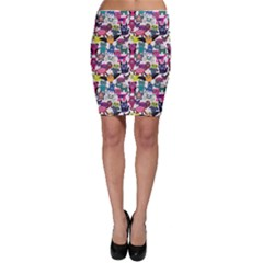 Colorful Cute Cartoon Monsters Pattern Bodycon Skirt