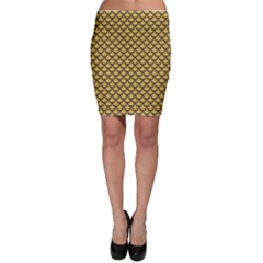 Green Gold Shiny River Fish Scales Bodycon Skirt