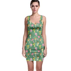 Green Mushrooms Stylish Design Bodycon Dress