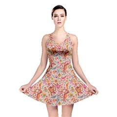 Pink Cute Monsters and Animals Texture Colorful Pattern Reversible Skater Dress