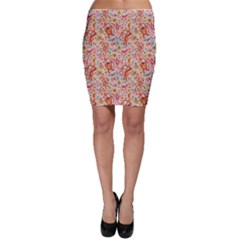 Pink Cute Monsters And Animals Texture Colorful Pattern Bodycon Skirt