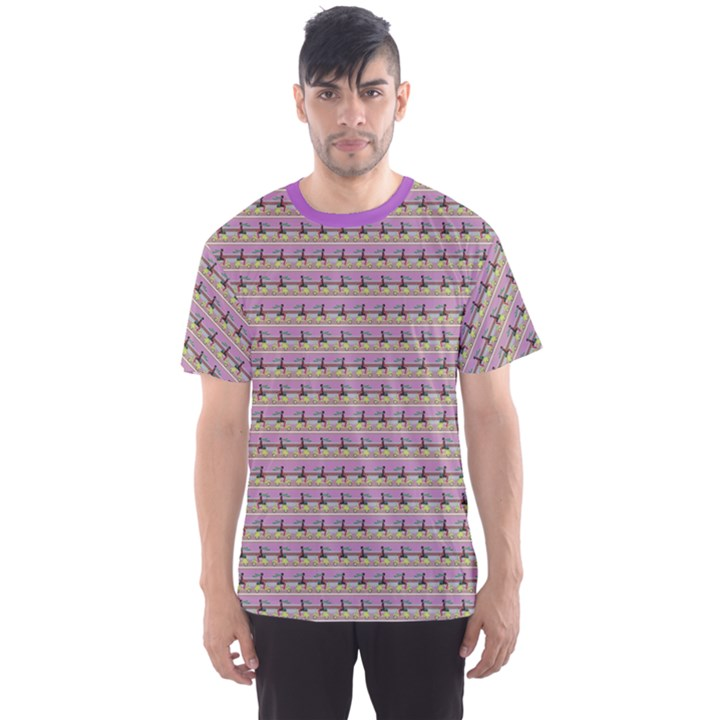 Purple Vespa Girl Pattern Stylish Design Men s Sport Mesh Tee