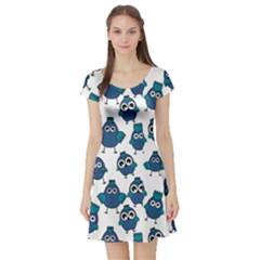 Blue Chicken Pattern Stylish Design Short Sleeve Skater Dress