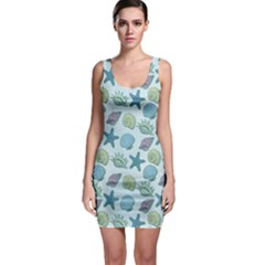 Blue Sea Hand Drawn Pattern Bodycon Dress