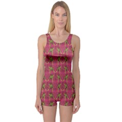 Purple Pattern with Macaw Parrots Hand Drawn Women s One Piece Swimsuit