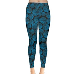 Blue Basketball Halftone Gradient Pattern Leggings