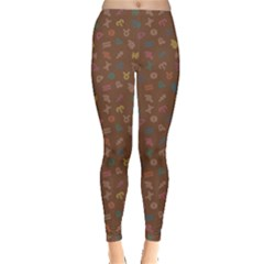 Brown Abstract with Outlined Colorful Zodiac Signs Pattern on Dark Leggings