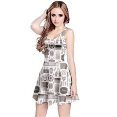 Gray Germany Travel Tourist Attractions Pattern Short Sleeve Skater Dress