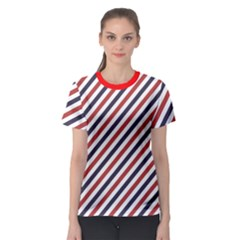Red Barber Pole Pattern Barber Texture Women s Sport Mesh Tee