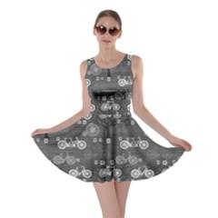 Gray Retro Bicycle Pattern Skater Dress