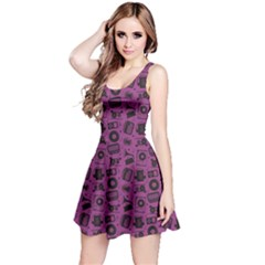 Purple Radio CD Player Music Pattern Sleeveless Dress