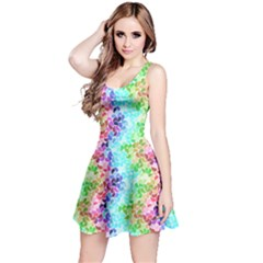 Colorful 3 Rainbow Petals Sleeveless Skater Dress