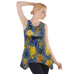 Floral Pattern Background Side Drop Tank Tunic