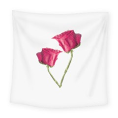 Red Roses Photo Square Tapestry (large)