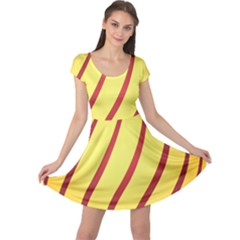 Yellow Striped Easter Egg Gold Cap Sleeve Dresses