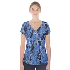 Floral Pattern Background Seamless Short Sleeve Front Detail Top