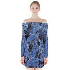Floral Pattern Background Seamless Long Sleeve Off Shoulder Dress