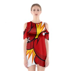 Boxing Gloves Red Orange Sport Shoulder Cutout One Piece