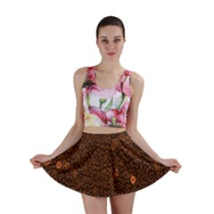 Brown Sequins Background Mini Skirt